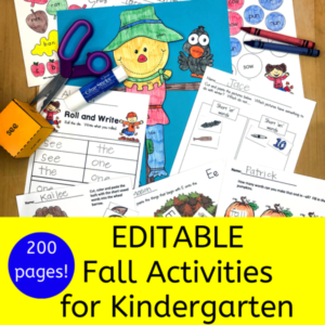 Fall literacy worksheets for Kindergarten