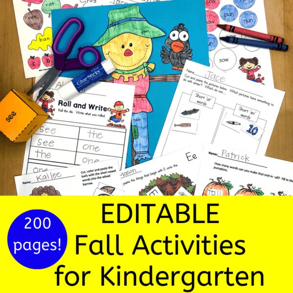 Fall literacy worksheets for Kindergarten