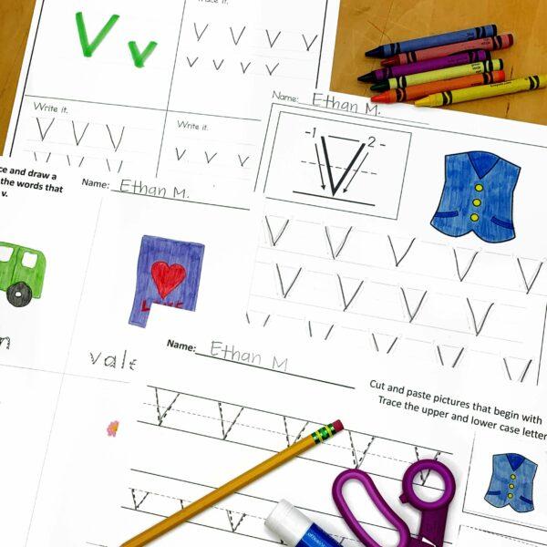 Letter V Worksheets