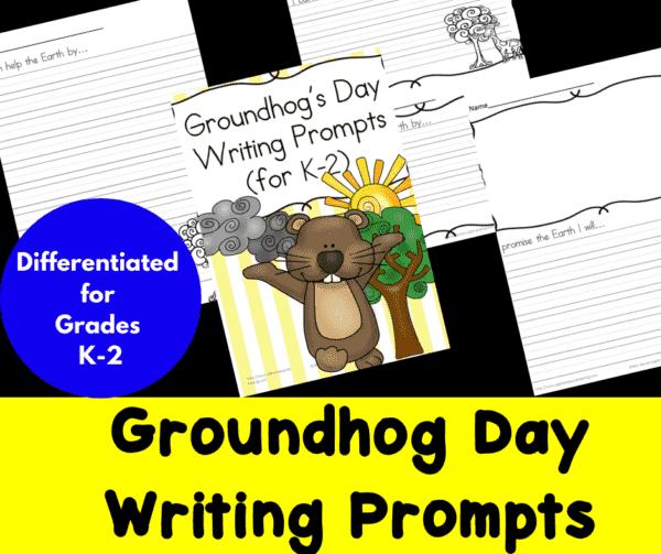 Differentiated Groundhog Day Writing Prompts for Kindergarten through Second Grade