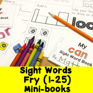 Fry Sight Words 1-25 minibooks