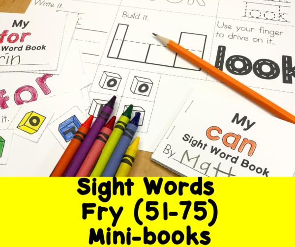 Fry Sight Words 51-75 minibooks