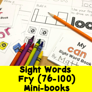 Fry Sight Words 76-100 minibooks