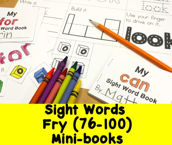 Fry Sight Words 76-100 minibooks
