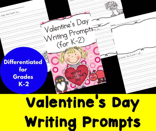 Differentiated Valentine's Day Writing Prompts for Kindergarten through Second Grade