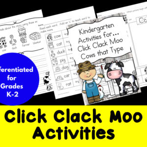 Click Clack Moo Cows that Type Activities/ Worksheets for Kindergarten