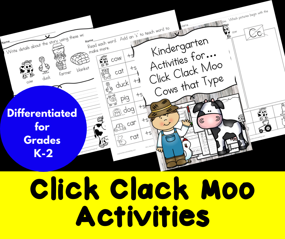 Click Clack Moo Cows That Type Activities/ Worksheets For Kindergarten –  Dollarlessonclub.com