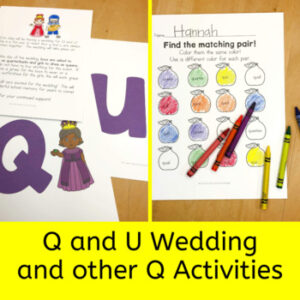 q and u wedding activities for kindergarten