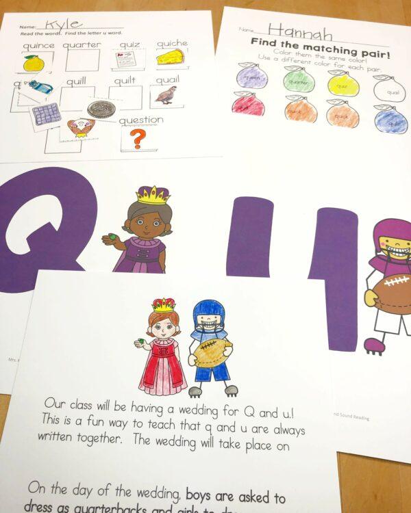 q and u wedding activities for kindergarten