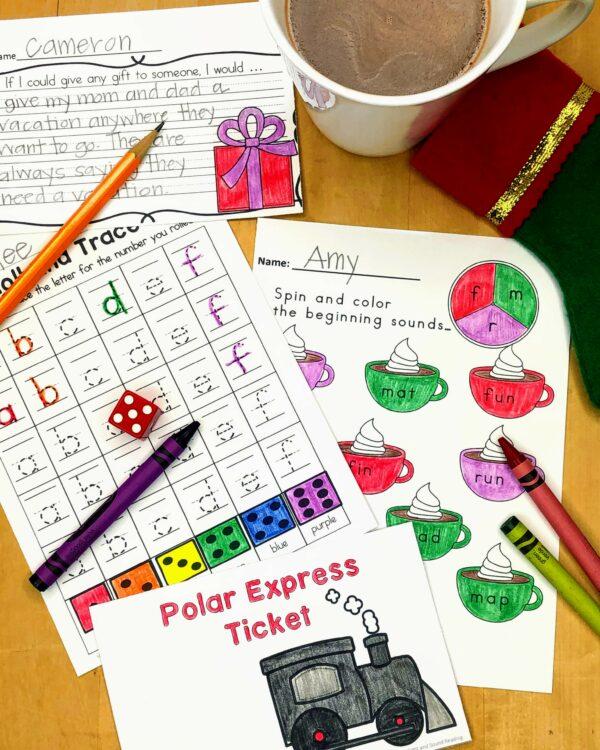 Polar Express Activities and Worksheets for Kindergarten